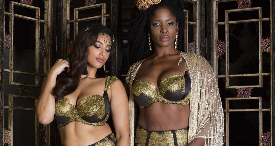 Luxury gold lingerie for DD bra sizes, with gold bead robe, Callista by Harlow & Fox