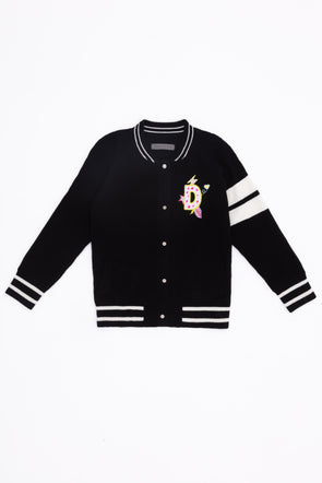 Kid's Bespoke Black Stay Wild Bomber