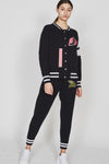 Women's Black Racing Bomber