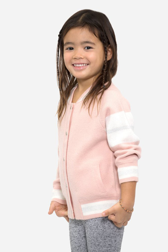 Kid's Custom Pink Edison Back Embroidery Bomber