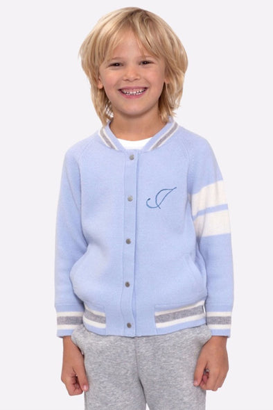 Kid's Mini Custom Blue Edison Cashmere Front Embroidery Bomber