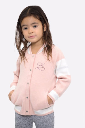 Kid's Mini Custom Pink Edison Cashmere Front Embroidery Bomber