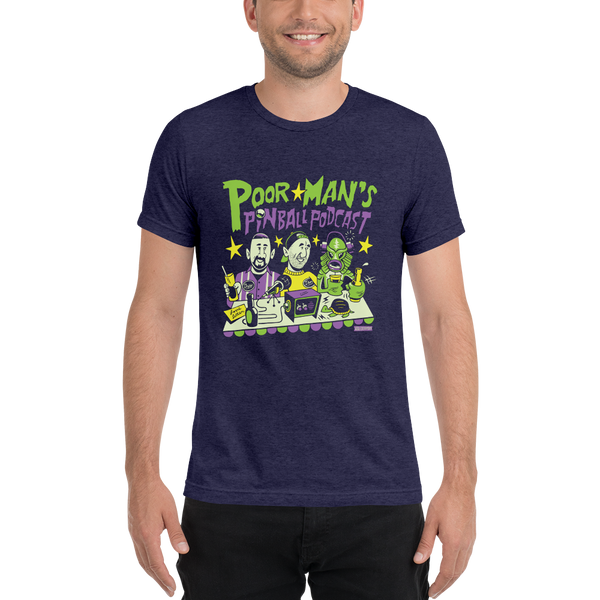 Poor Man's Pinball Podcast Holderman Design - Premium Tri-Blend T-Shirt - Silverball Swag