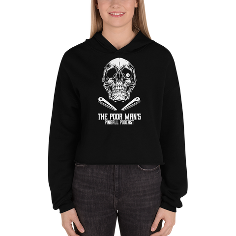 Poor Man's Pinball Podcast Skull and Flippers - Crop Hoodie