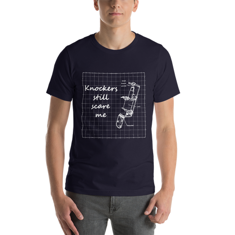 Knockers Still Scare Me - Super Soft Shirt (Navy) - Silverball Swag