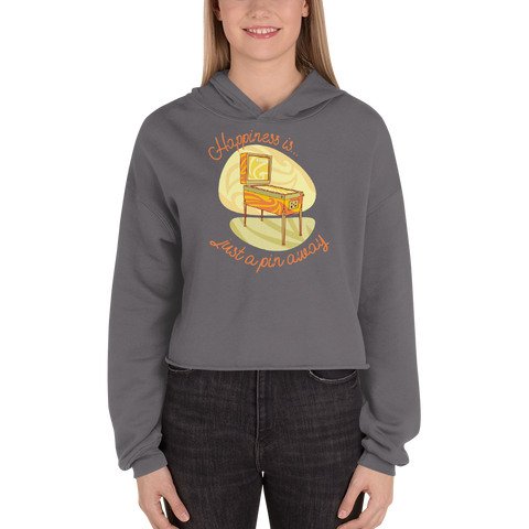 Happiness Is Just a Pin Away - Crop Hoodie