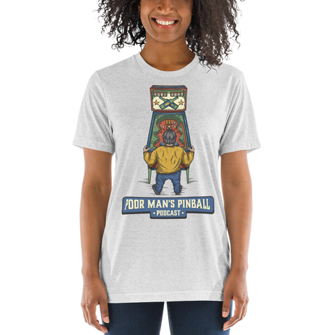 Poor Man's Pinball Podcast Retro - Premium Tri-blend T-shirt - Silverball Swag