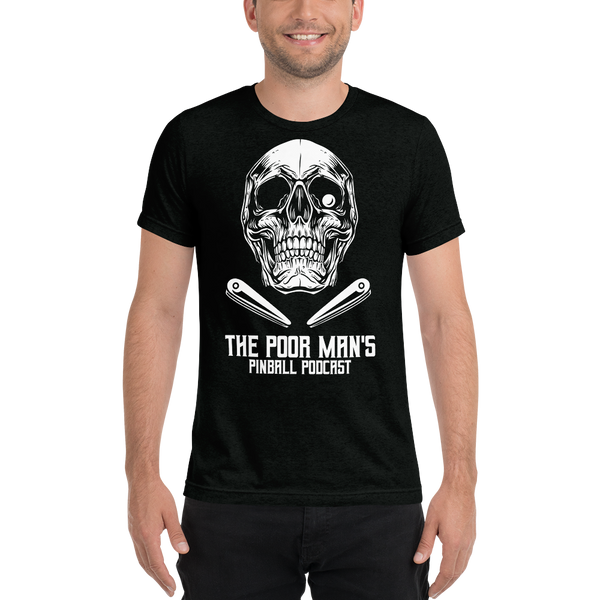 Poor Man's Pinball Podcast Skull and Flippers - Premium Tri-blend T-shirt - Silverball Swag