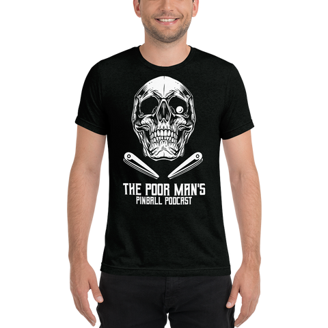 Poor Man's Pinball Podcast Skull and Flippers - Premium Tri-blend T-shirt