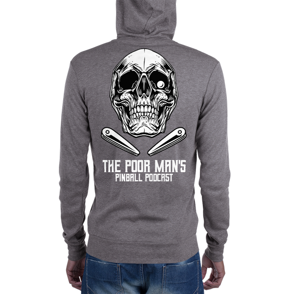 Poor Man's Pinball Podcast Skull and Flippers - Zip Hoodie - Silverball Swag
