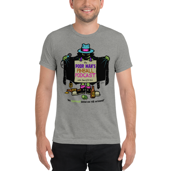 Poor Man's Pinball Podcast Franchi Design - Premium Tri-blend T-Shirt - Silverball Swag