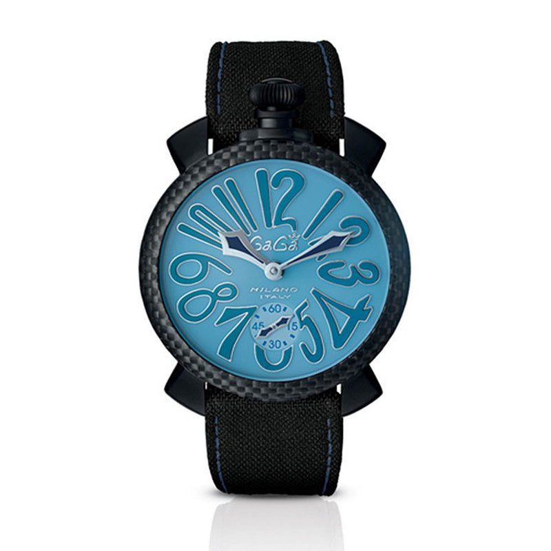 GaGa Milano Manuale 48mm Limited Edition Watch Light Blue Dial Black Leather Strap Unisex 5016