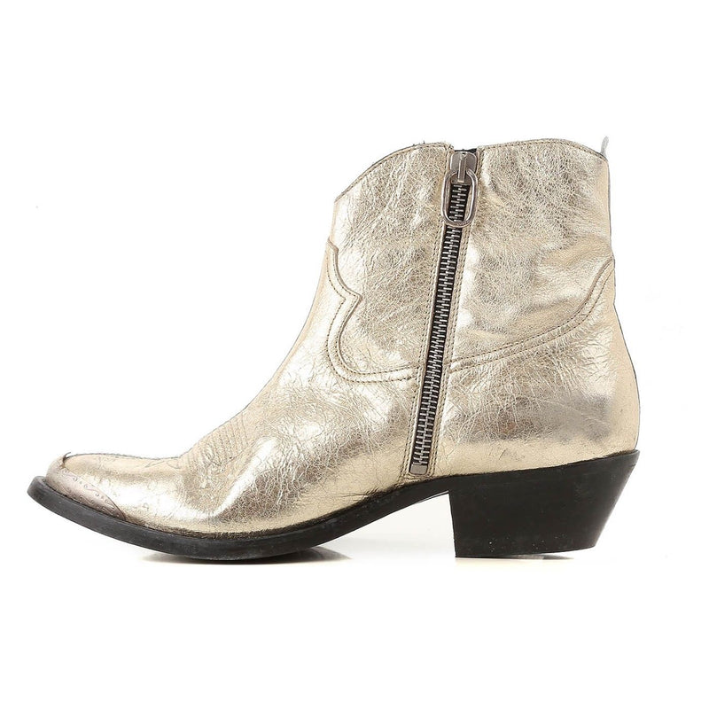 Golden Goose Deluxe Brand Women's Silver-Gold Leather Booties G33WS274B.B90