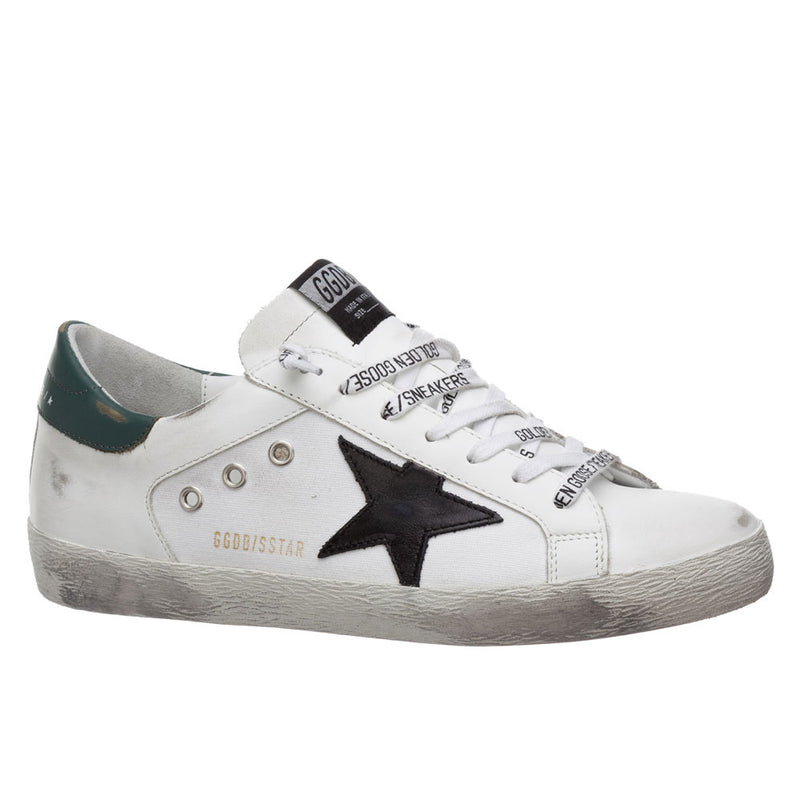 Golden Goose Deluxe Brand Superstar White/Green Leather Mens Sneaker G36MS590.T87