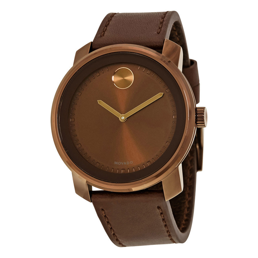 Movado Bold Brown Leather Strap Stainless Steel Scratch Resistant Dial Unisex Watch 3600377