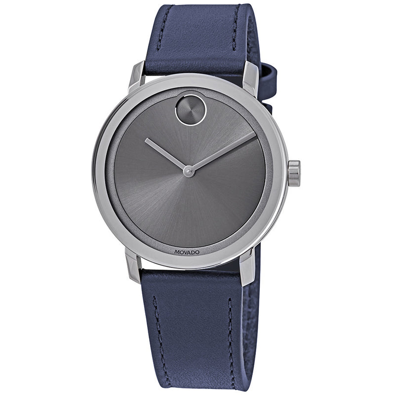 Movado Bold 40 mm Light Grey Sunray Dial Navy Blue Leather Men's  Stainless Steel Watch 3600507
