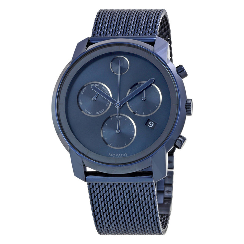 Movado Bold Chronograph Stainless Steel Scratch Resistant Blue Dial Men's Watch 3600403