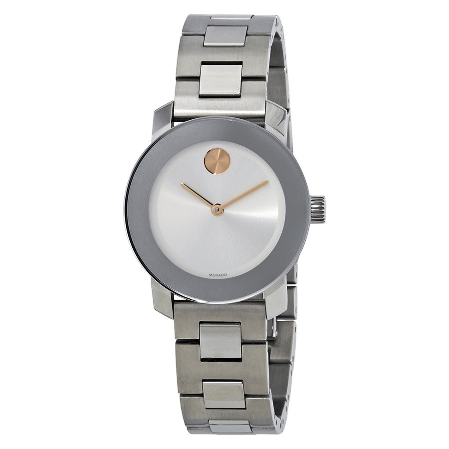 Movado Bold Silver Sunray Dial Stainless Steel Water Resistant Analog Ladies Watch 3600433