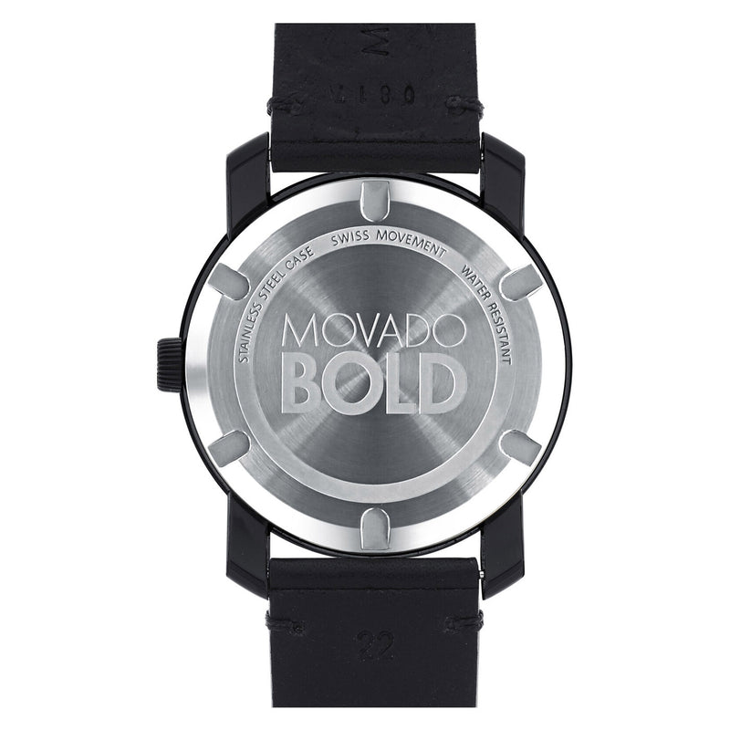 Movado Bold TR90 Black dial with Blue Sunray Hands and Black Leather Strap Men's Watch 3600307