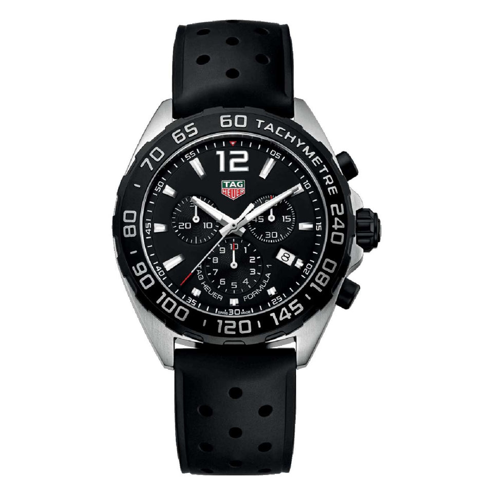 Tag Heuer Formula 1 Quartz 43 mm Black Dial Rubber Strap Chrono Men's Watch CAZ1010.FT8024