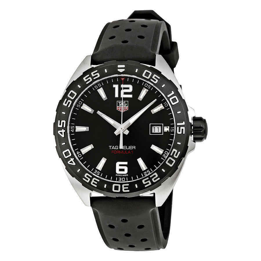 Tag Heuer Formula One 41 mm Black Dial and Rubber Strap Men's Watch WAZ1110.FT8023