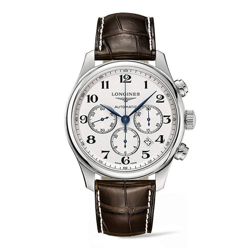 Longines Master Collection 44mm Chronograph Men's Watch Silver dial Brown Leather L28594783