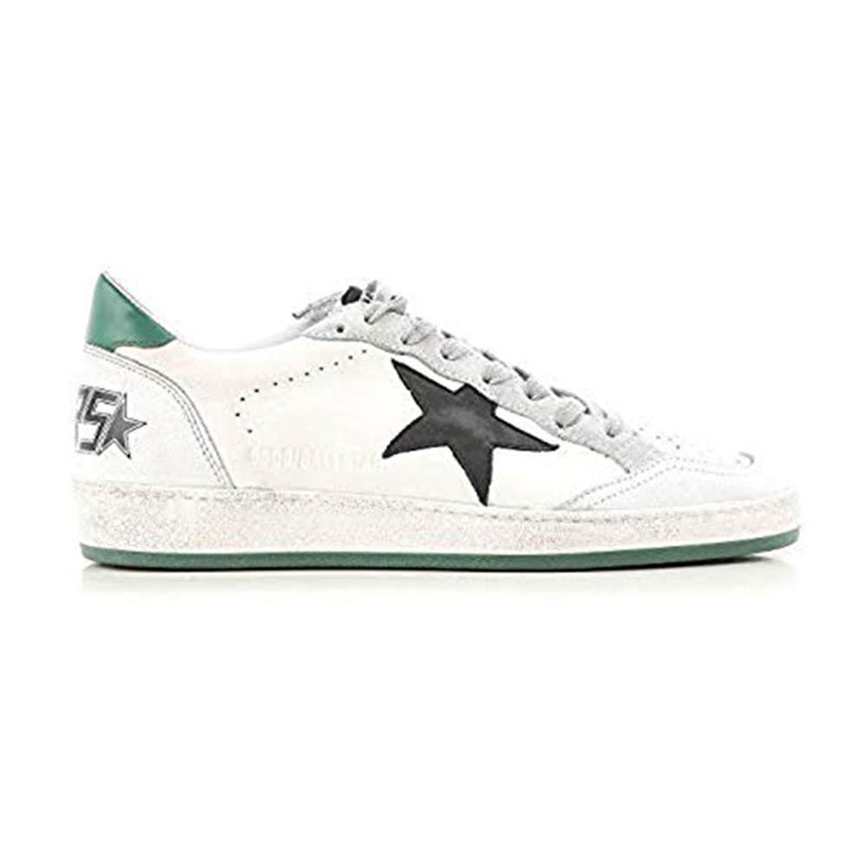Golden Goose Deluxe Calf Leather White and Green Rubber Dirty White Men's Sneakers G32MS592.G4