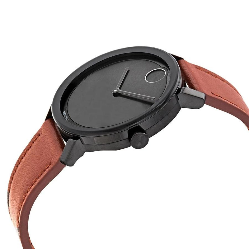 Movado Bold Cognac Leather Strap Black Sunray Dial 40 mm Men's Watch 3600537