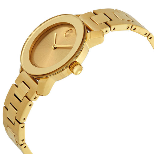 Movado Bold Gold PVD bezel Sunray Dial stainless steel Round case Ladies Watch 3600434