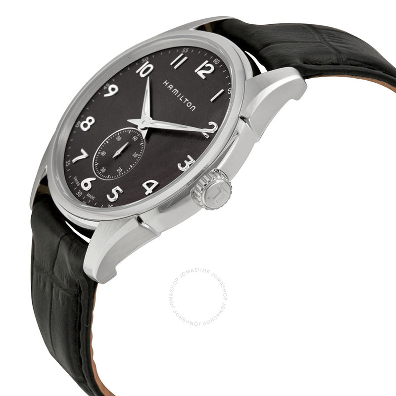 Hamilton Jazzmaster Grey Dial Black Leather Men's Watch Seconds Sub Dial H38411783