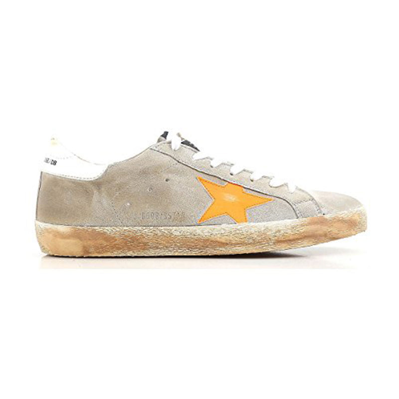 Golden Goose Superstar Light Grey-Yellow Orange Leather Rubber Men's Sneakers G32MS590.F10