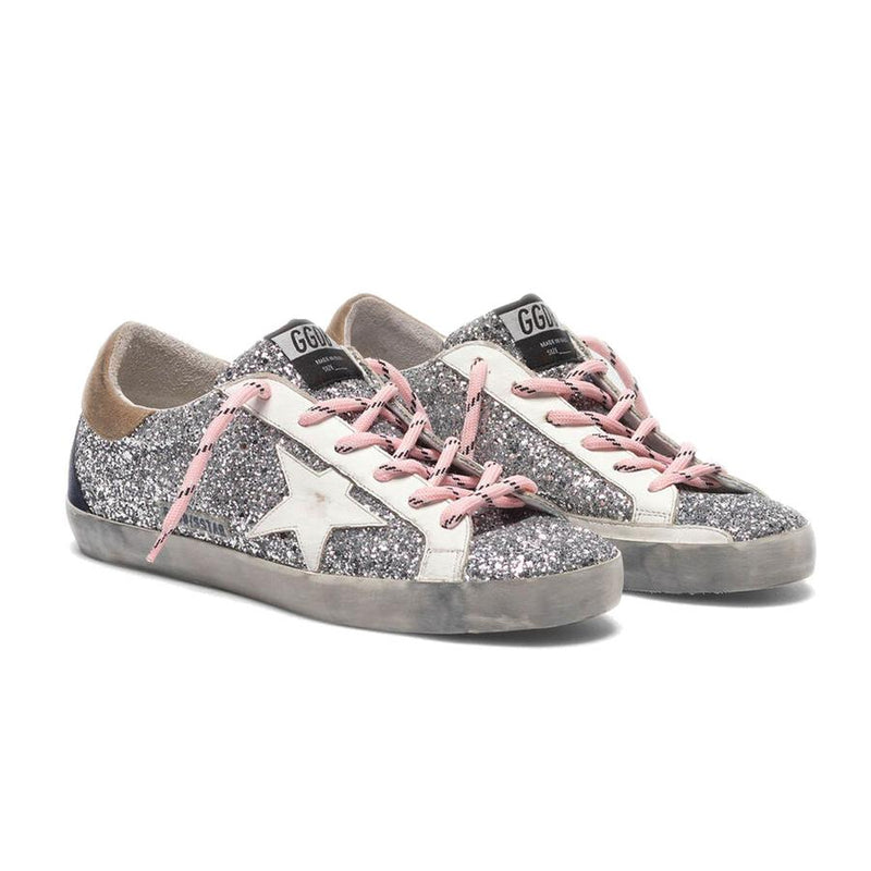 Golden Goose Superstar White Glitter Cowhide Leather Ladies Sneakers G35WS590.R44