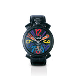 GaGa Milano Manuale 48mm PVD Men's Watch Black Dial and Leather Strap Waterproof 5012