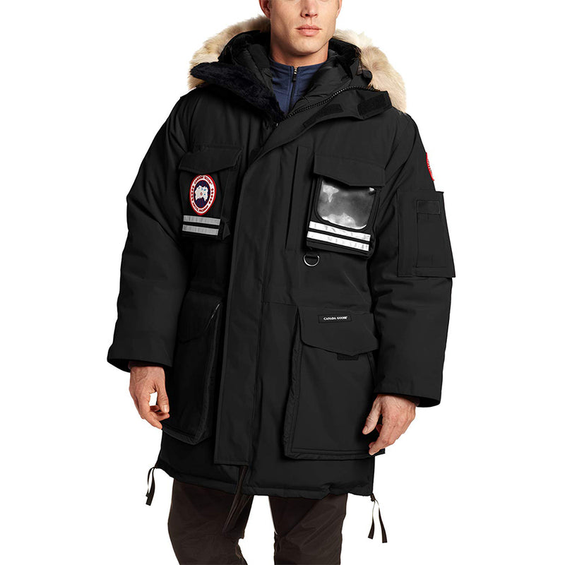 Canada Goose Men's Snow Mantra Parka Polyster Black Medium Size Natural Coyote 9501M