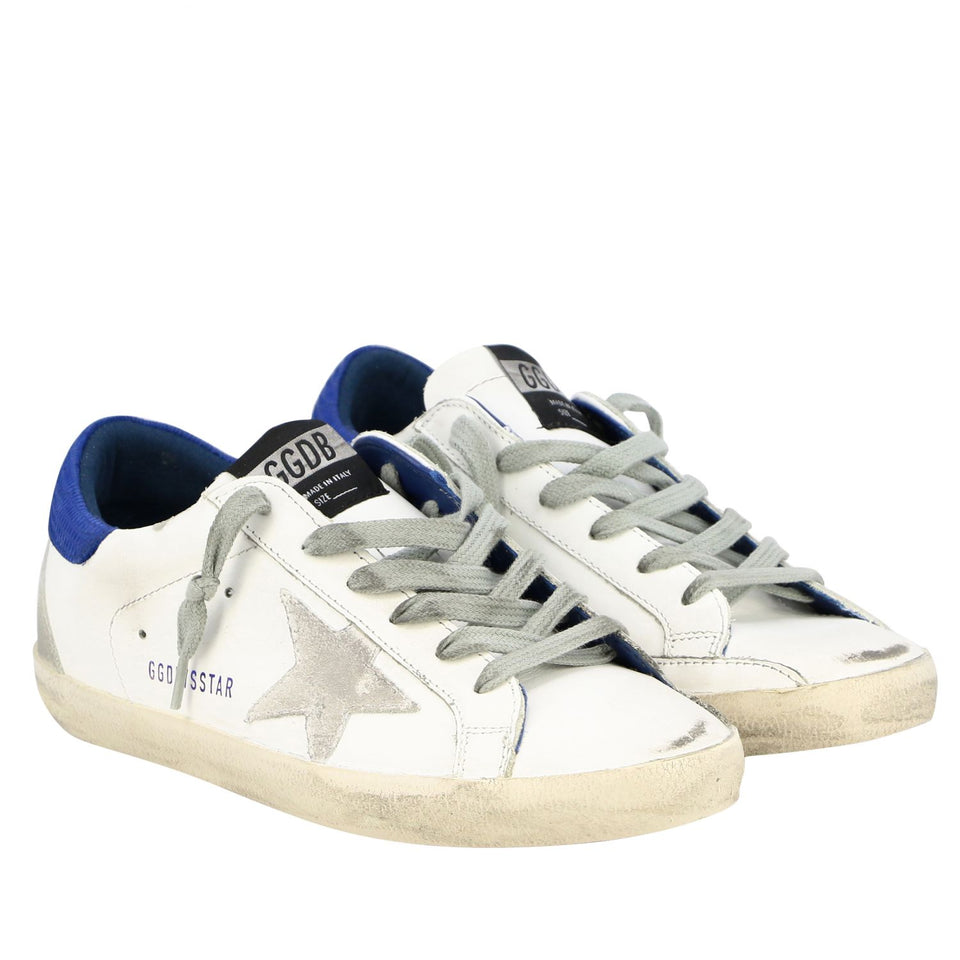 Golden Goose Superstar Women's White/Blue Lizard Leather Rubber Sneaker G36WS590.S76