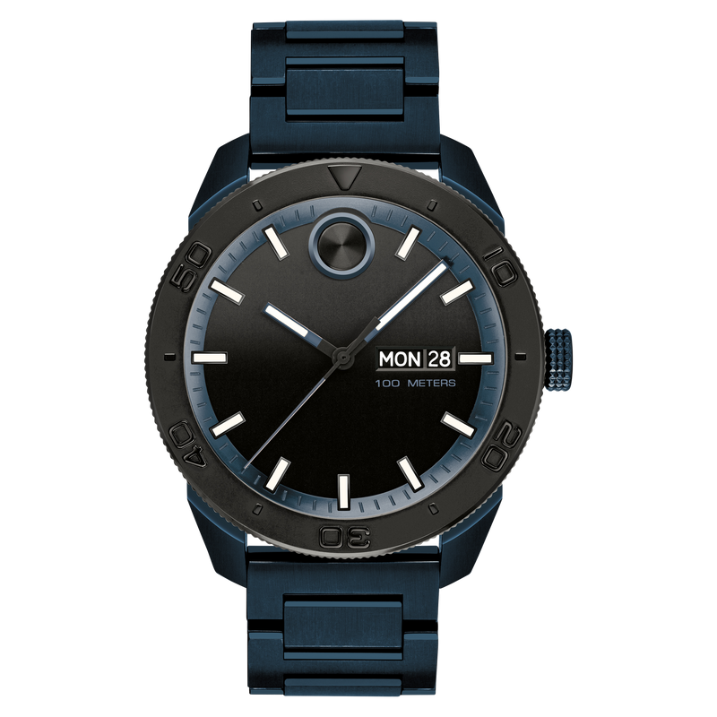 Movado BOLD Sport 43.5 mm blue ion-plated stainless steel black-toned dial Mens Watch 3600607