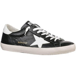 Golden Goose Superstar Men's Black Leather Rubber Sole White Heel Sneaker G34MS590.N31