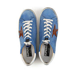 Golden Goose Superstar Smooth Red Lather Rubber Blue Men's Sneakers G32MS590F.F15