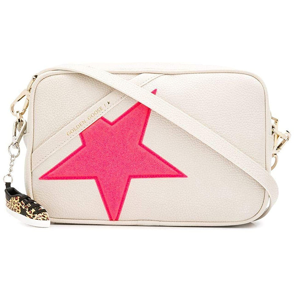 Golden Goose Womens Shoulder Star Bag In Grained Leather - Red Star-  G36WA881.A7