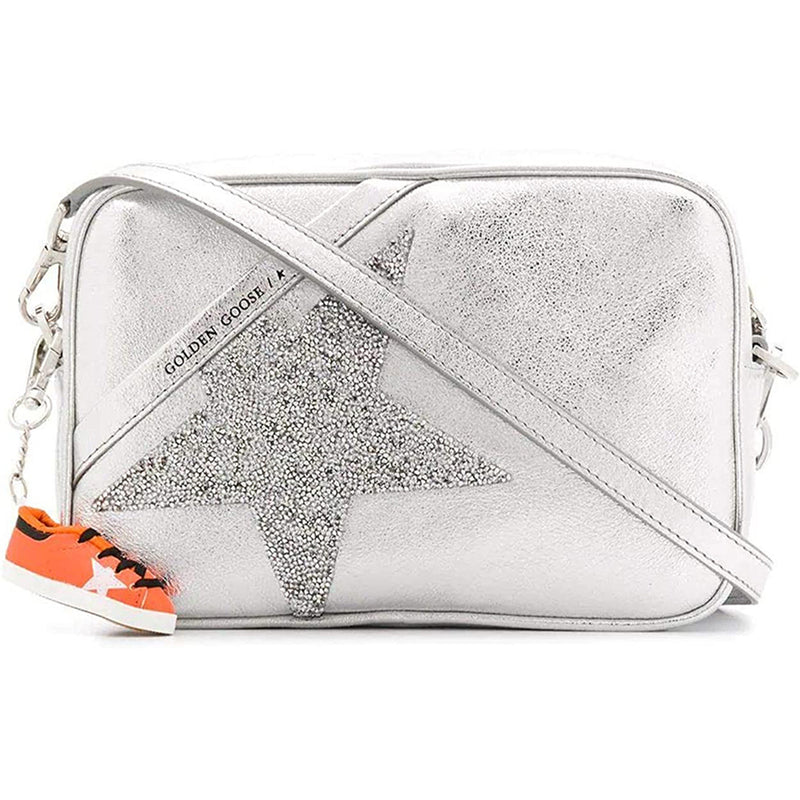 Golden Goose Womens Shoulder Star Bag In Laminated Leather - Grey/Silver  G36WA881.B5