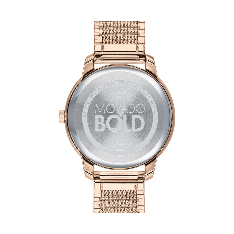 Movado BOLD 35 mm Pale Rose Gold Ion-Plated Stainless Steel Case Womens Watch 3600596