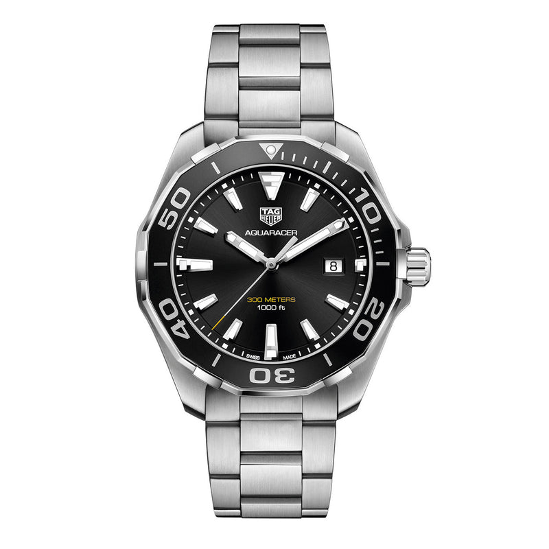 Tag Heuer Aquaracer 43 mm Quartz Black Dial Silver-tone Men's Watch WAY101A.BA0746