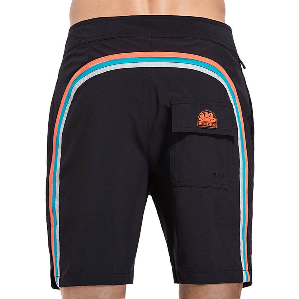 Sundek Men's Long Boardshorts Fixed Waist Quick-dry Fabric Side Pockets M563BDP7700