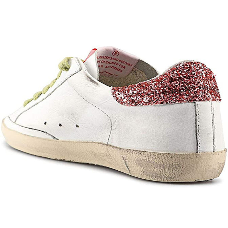 Golden Goose Superstar Leather Women's Fashion Sneakers Glittered White G34WS590.N90