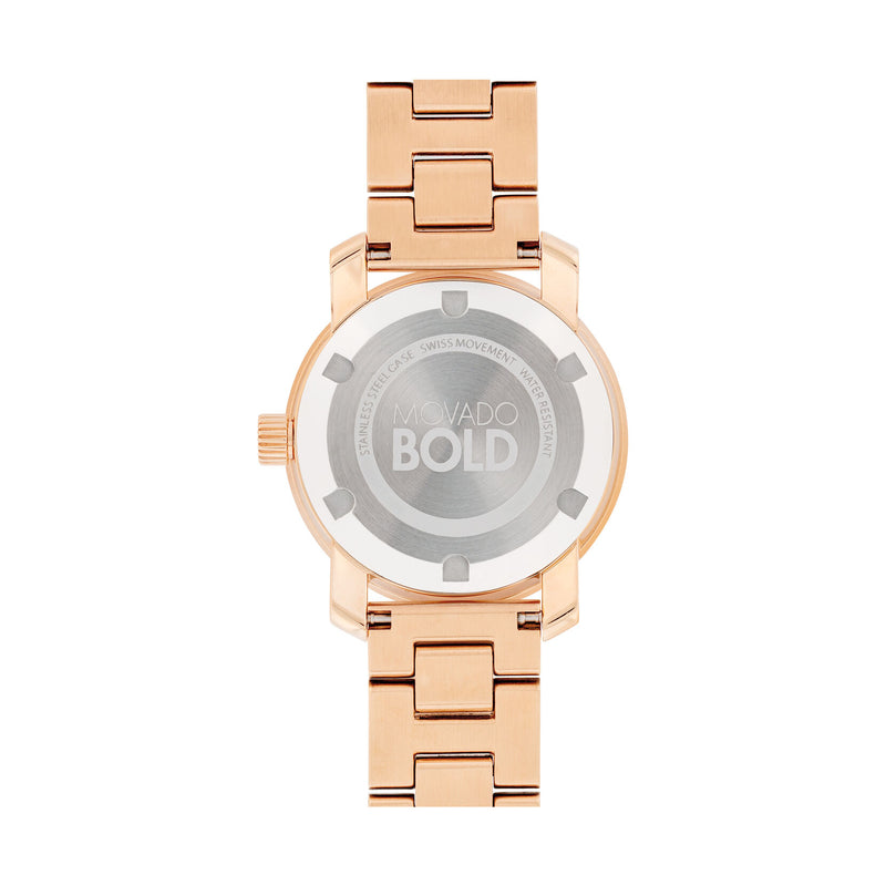 Movado Bold Rose Gold Dial and Tone Stainless Steel Water Resistant Watch Ladies 3600550