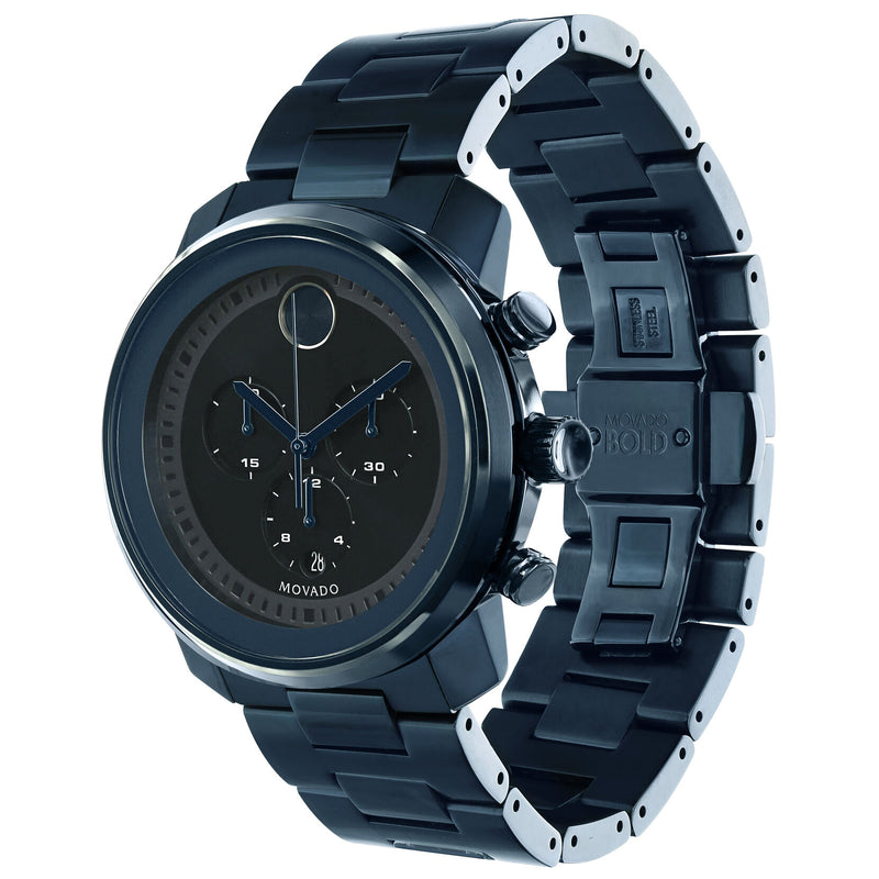 Movado Bold Dark Navy Dial Blue Stainless Steel Men's Watch Chronograph 3600279
