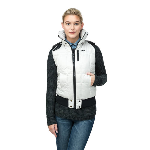 Nobis Meego Stone Polyester Crosshatch Ladies Vest Two-way Zipper Meego-white