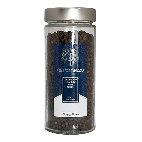 Terramezzo Premium Whole Black Peppercorns | Elegant Glass Vase (230g / 8.2oz) - TMSJ003230