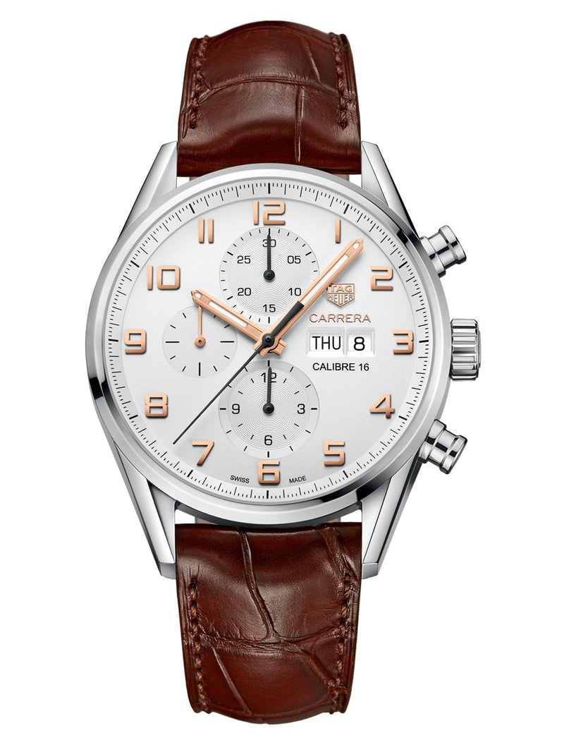 TAG Heuer Carrera Chronograph White Dial Brown Leather Strap Men's Watch Cv2A1Ac.Fc6380