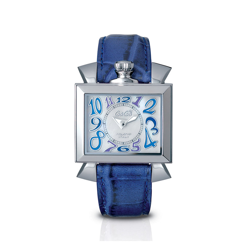 GaGa Milano Napoleone Steel Case 40 mm Ladies Watch White Dial Blue Leather Strap 6030